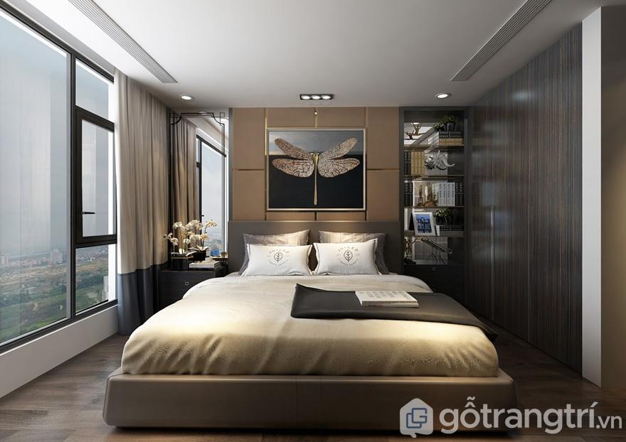 Phòng ngủ master thiết kế gọn gàng, tối giản