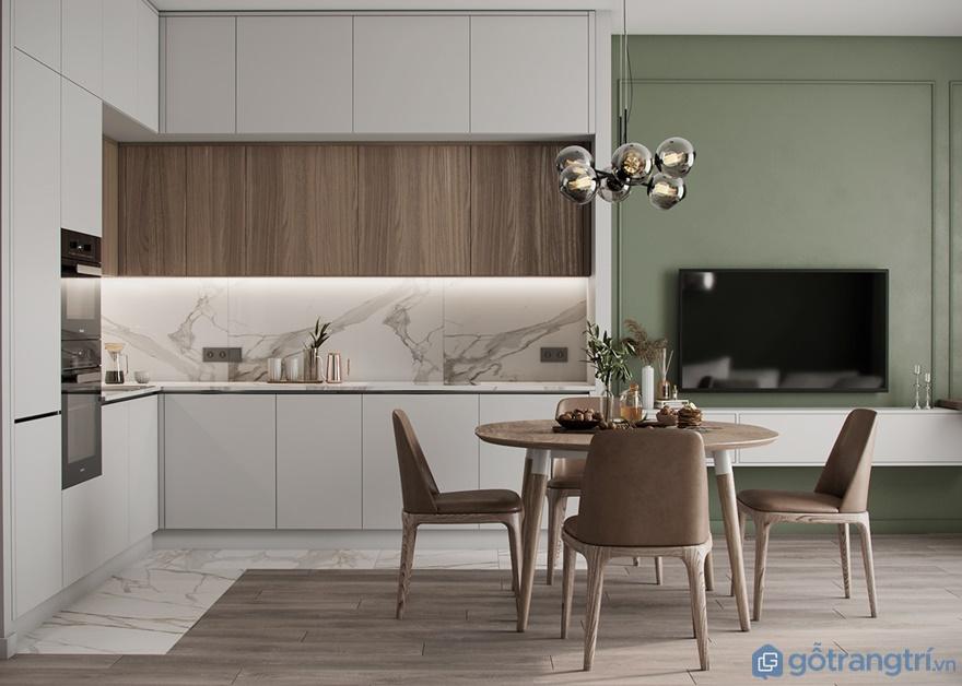 Chiếc tivi treo tường thiết kế tại góc tường bên phải để giúp gia chủ có thể xem tivi trong lúc ăn cơm