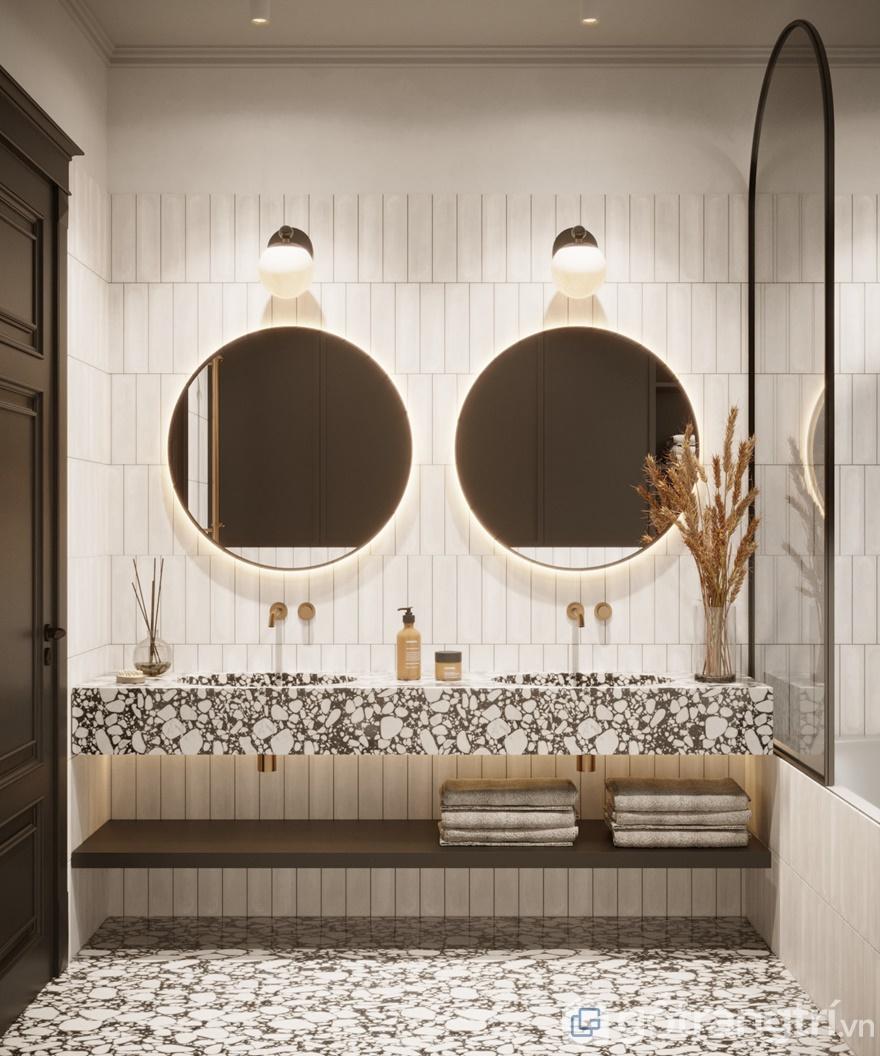 Hệ thống gương soi tích hợp với đèn led mang đến không gian phòng tắm xa hoa, lộng lẫy