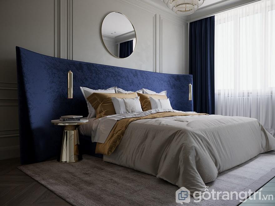 Phòng ngủ nội bật với tông màu xanh và gam màu trắng xám