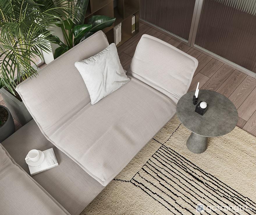 Phòng khách bố trí nằm giữa trung tâm của căn hộ để tạo sự cân xứng, hài hòa trong thiết kế