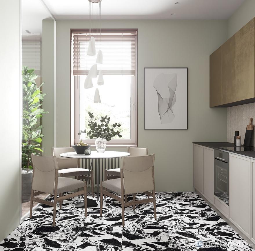 Đặt bàn ăn hình tròn đặt ngay cạnh cửa sổ để thu hút ánh sáng tự nhiên vào phòng