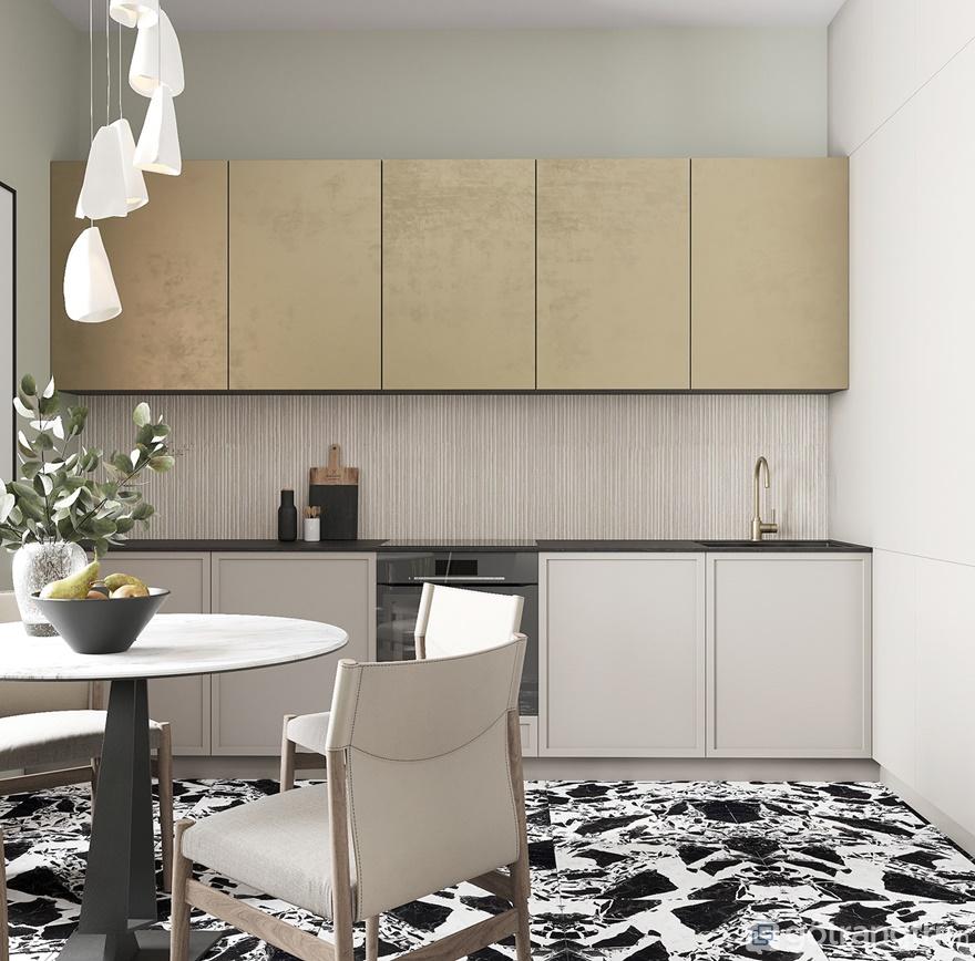 Tủ bếp chữ I được sử dụng 2 tông màu chủ đạo là màu ghi và màu vàng bạc nhìn căn bếp rất sáng rộng