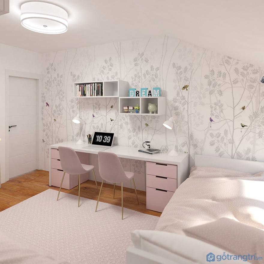 Phòng ngủ bé gái sử dụng gam màu chủ đạo là tông màu hồng nhạt