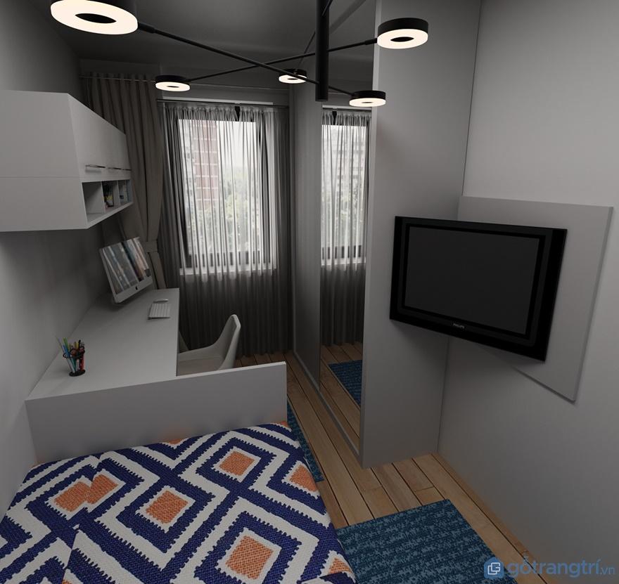 Tivi treo tường được thiết kế ngay cạnh giường ngủ
