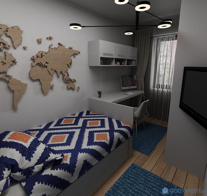 Phòng ngủ cho bé trai đơn giản nhưng thể hiện được cá tính của bé trai