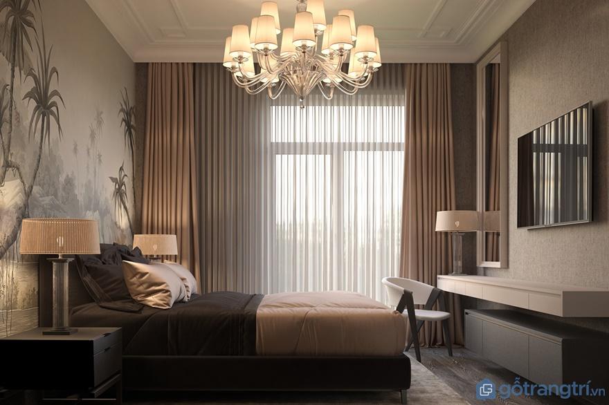 Phòng ngủ ông bà, bố mẹ được thiết kế rất trang nhã, sinh động với tranh dán tường 3D phong cảnh nhìn rất tuyệt đẹp