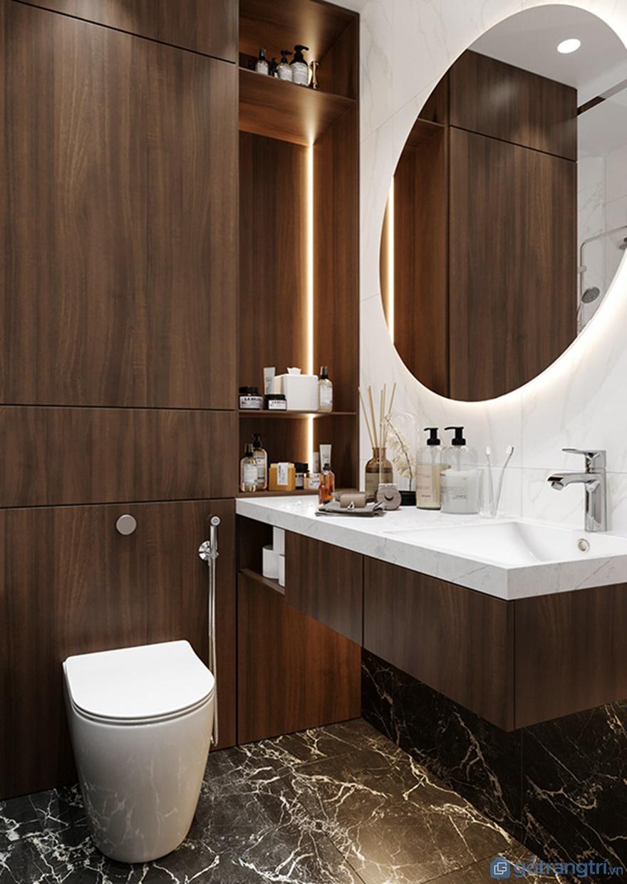 Gương phòng tắm được làm từ kính cao cấp hình elip nhìn rất lạ mắt