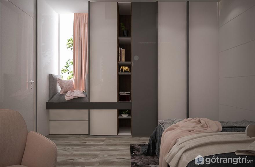 Phòng ngủ của bé gái được thiết kế đơn giản, thanh thoát với tông màu chủ đạo là màu hồng và màu trắng