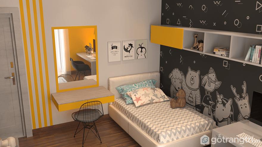 Phòng ngủ bé trai được thiết kế với mảng tưởng rất ngộ nghĩnh đáng yêu bởi những hình con vật như: gấu, hươu, chó...