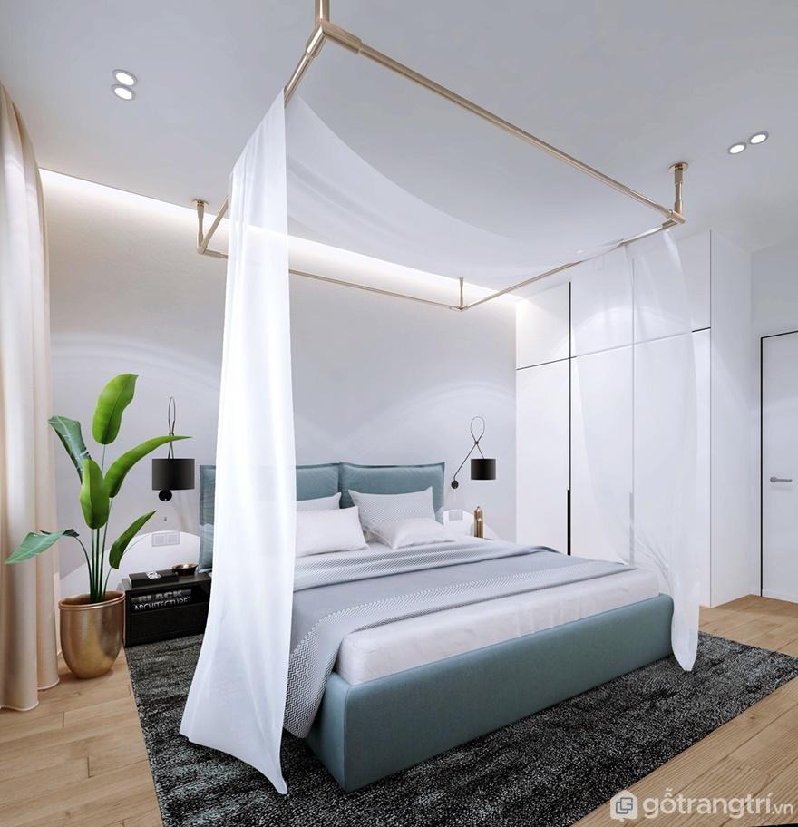 Phòng ngủ master được sử dụng 2 tông màu xanh nhẹ và màu trắng sáng