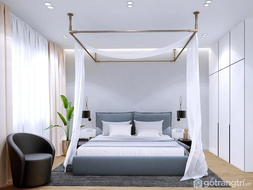 Phòng ngủ được bố trí cạnh logia để giúp chủ nhân tận hưởng được không gian trong lành vào buổi sớm mai
