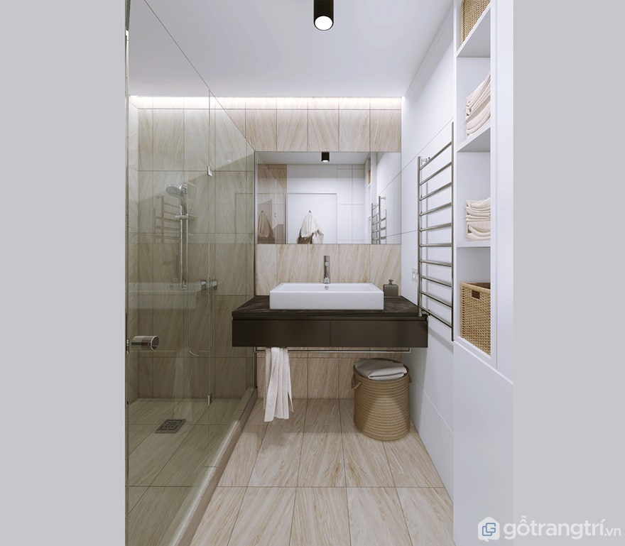 Phòng tắm sử dụng vách ngăn bằng kính nhằm tôn lên sự rộng rãi cho căn phòng