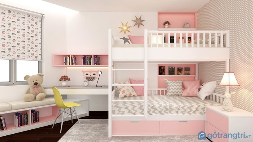 Phòng ngủ của bé tại căn hộLuxury Park View với gam màu hồng trắng - Ảnh: Internet