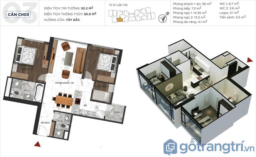 Mặt bằng căn hộ chung cư Sunshine City 85 m2