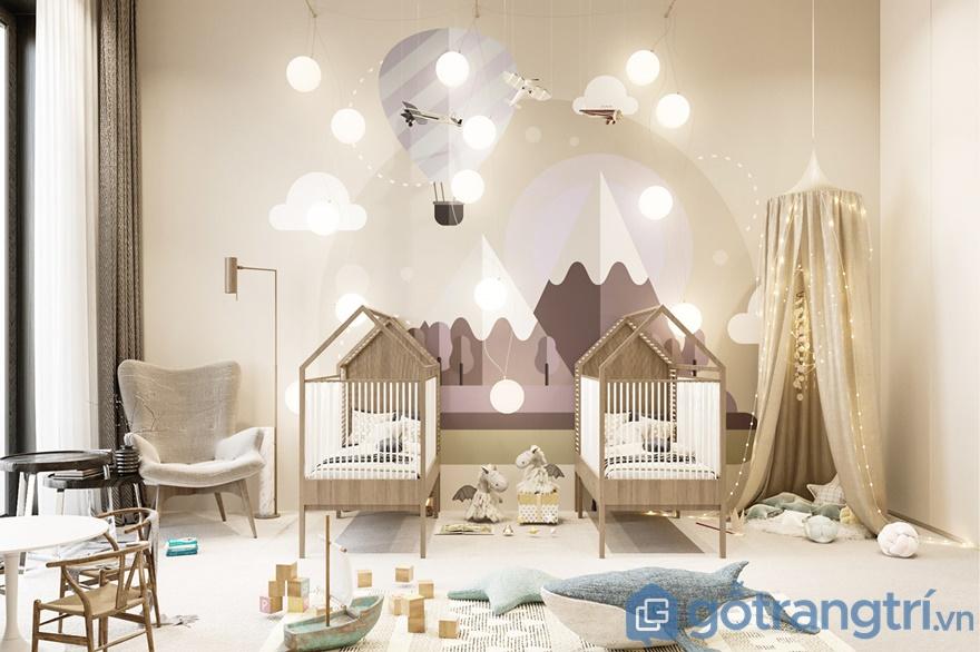 Phòng ngủ cho bé sơ sinh thiết kế rất kỳ công và đẹp mắt