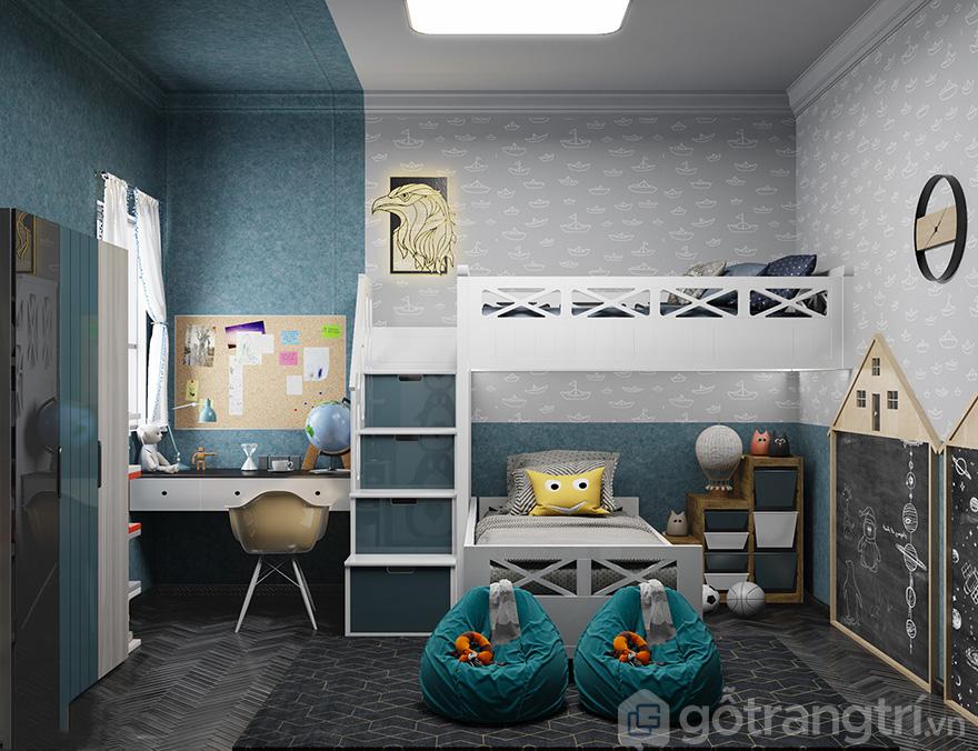 thiết kế nội thất phòng ngủ bé trai