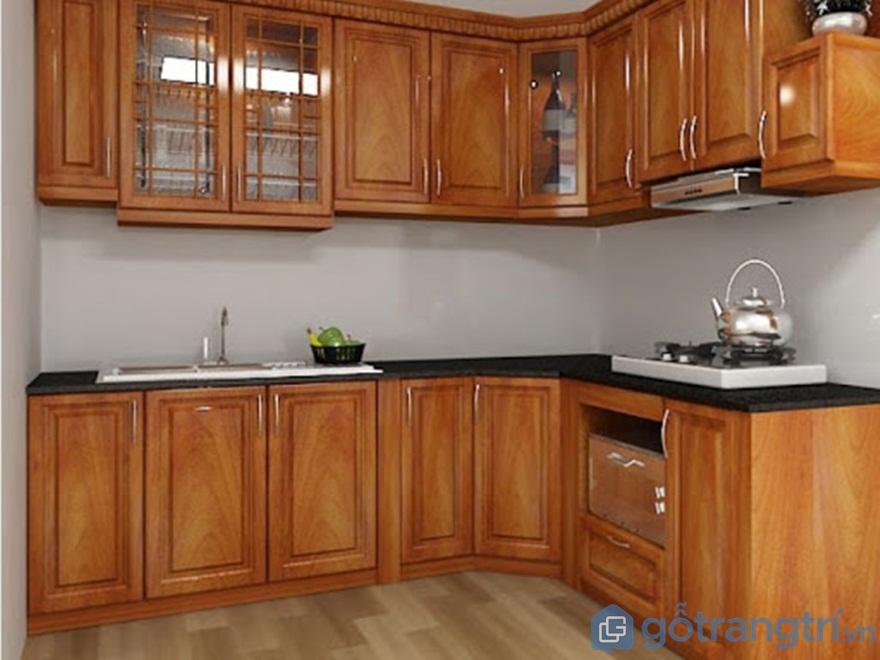 Tủ bếp gỗ sồi Mỹ có vân gỗ nhỏ hơn - Ảnh: Internet