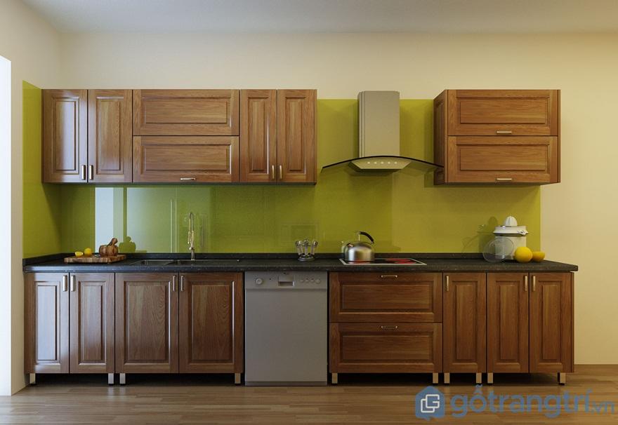 Tủ bếp gỗ sồi mỹ hình chữ I - Ảnh: Internet