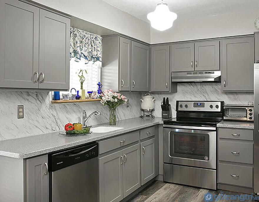 Tủ bếp laminate đẹp - Mẫu 01