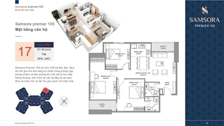 Mặt bằng căn hộSamsora Premier 105 3 phòng ngủ