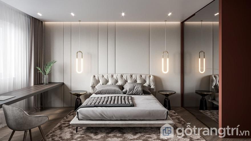 Phòng ngủ được thiết kế rất sang trọng, hiện đại