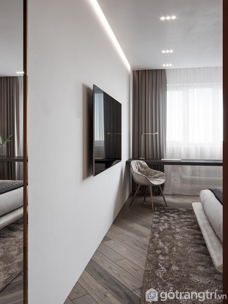1 góc căn phòng ngủ được bài trí giản đơn, gọn gàng