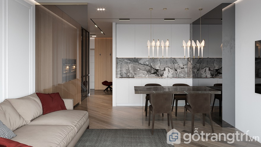 Phòng khách được thiết kế liên thông với bếp ăn gia đình