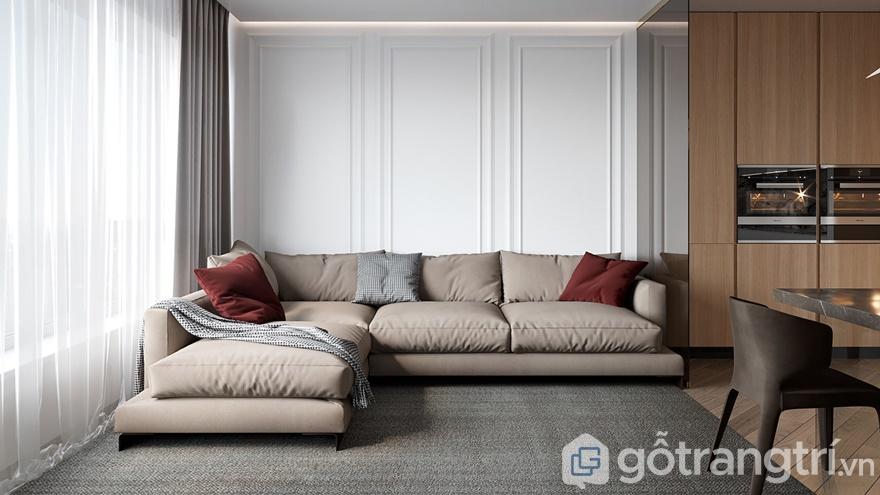 Mẫu thiết kế nội thất hiện đại phòng khách đơn giản, hiện đại