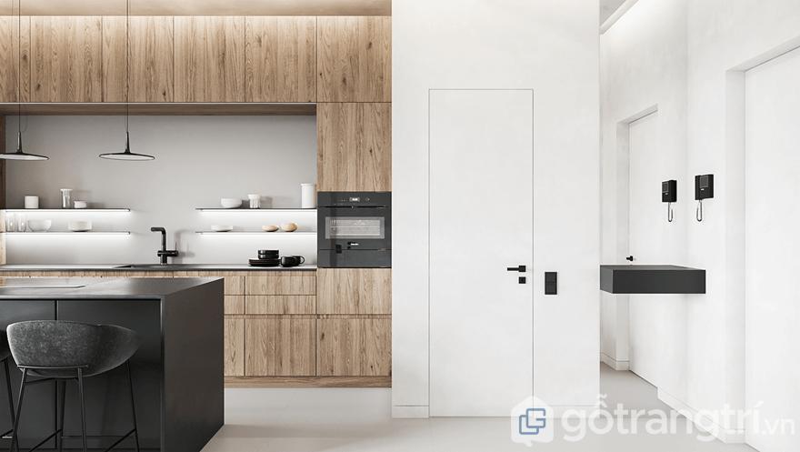 Gian bếp nổi bật bởi căn hộ chung cư sử dụng tông màu trắng sáng chủ đạo