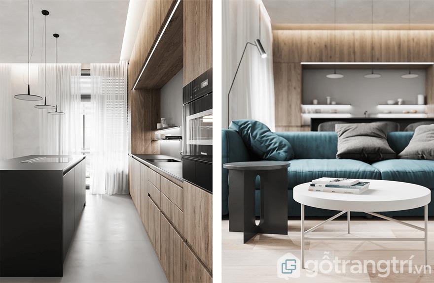 Phòng khách và bếp ăn được thiết kế liên thông với nhau