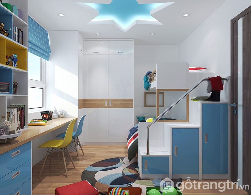 Phòng ngủ trẻ em thiết kế nhiều gam màu sắc sáng tươi