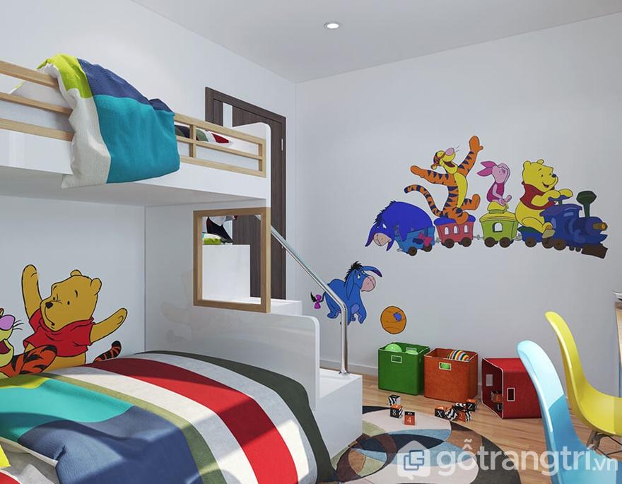 Bức tường được trang trí những con vật ngộ nghĩnh