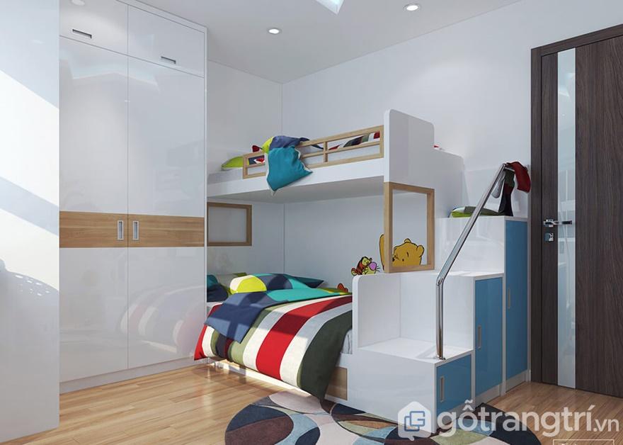 Giường ngủ 2 tầng đặt cạnh tủ quần áo