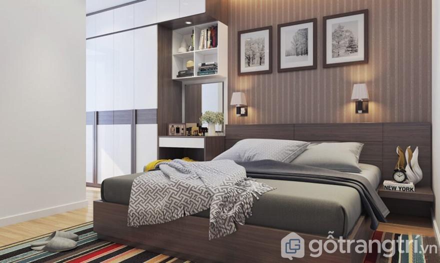 Màu sắc phòng ngủ được bài trí vô cùng nhẹ nhàng