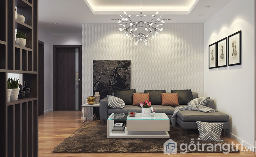 Phòng khách được bài trí theo phong cách hiện đại, tinh tế