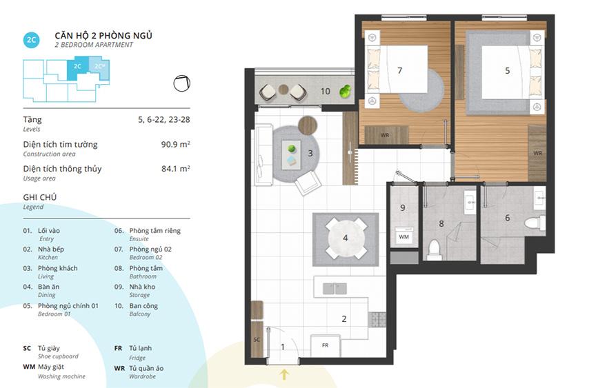 thi công nội thất chung cư 90m2 kosmo Tây Hồ