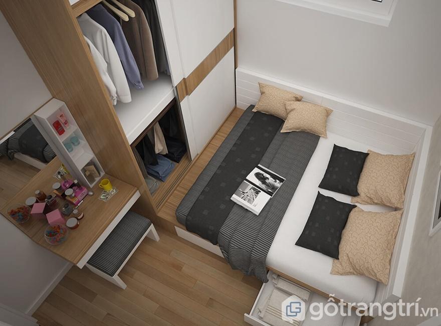 Nhìn tổng thể không gian phòng ngủ tiện nghi, gọn gàng