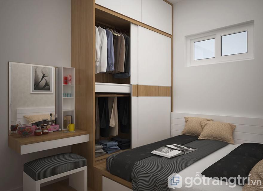Tủ quần áo thiết kế theo hệ cửa lùa rất tiện lợi