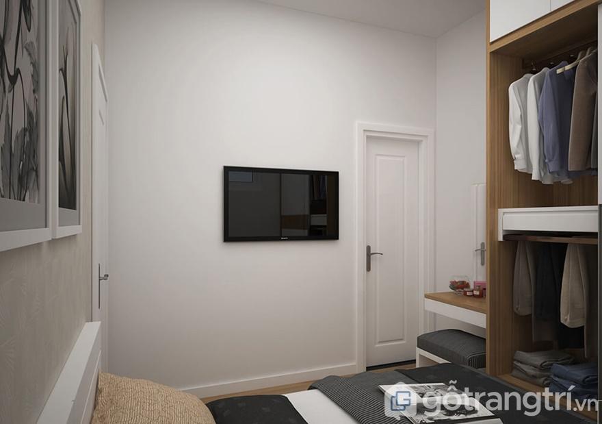 Ngoài ra, phòng ngủ sẽ được trang bị thêm tivi treo tường, và khung tranh nhỏ xinh