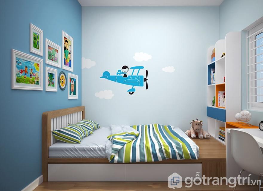 Thiết kế phòng ngủ cho con sử dụng gam màu sáng tươi, hiện đại