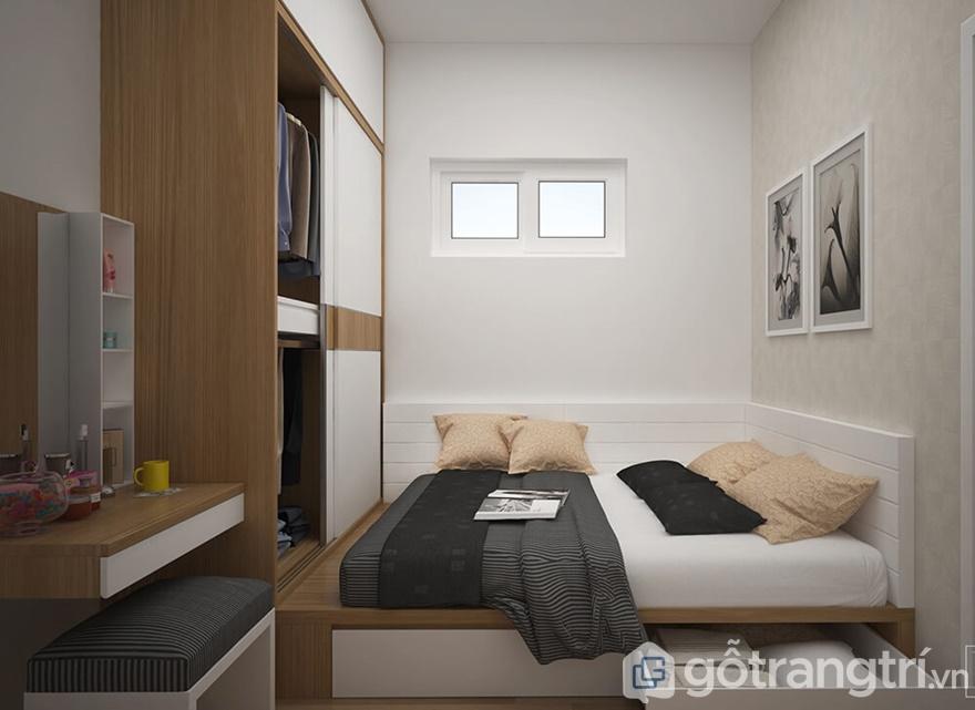 Nội thất phòng ngủ được sử dụng chất liệu chính là gỗ MDF cao cấp