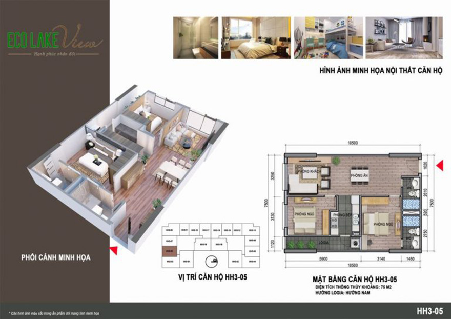 Thiết kế căn hộ Eco Lake View 32 Đại Từ