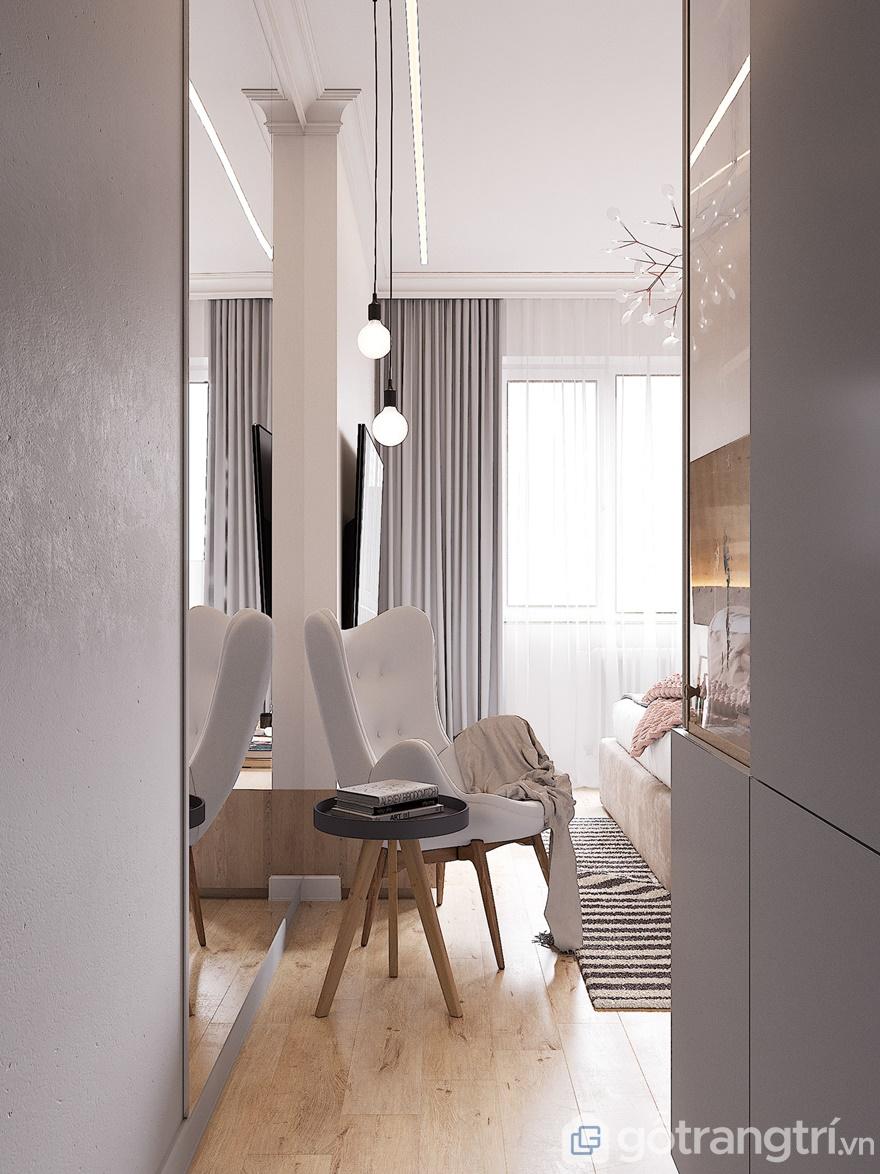 Lối đi vào phòng ngủ thiết kế đơn giản có tác dụng chuyển tiếp giữa phòng ngủ với ngoài nhà