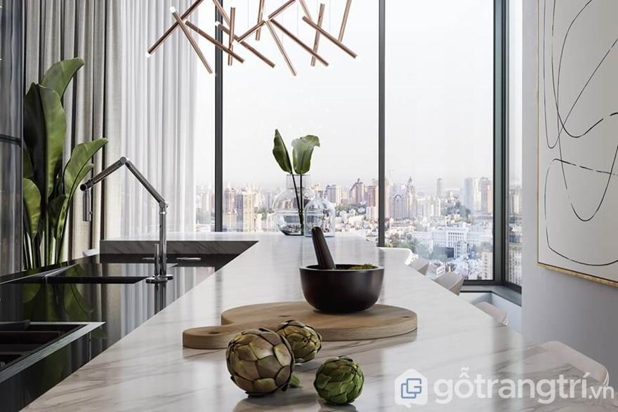 Sự xuất hiện của cây xanh trong nhà đã mang đến sự tươi mới cho gian bếp