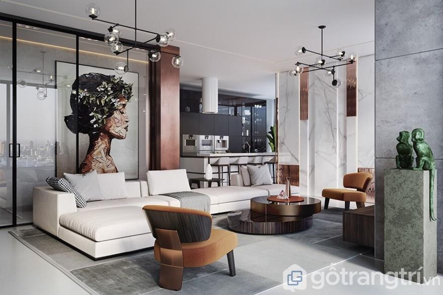 Phòng khách nhấn nhá với tông màu trắng và cam của ghế sofa