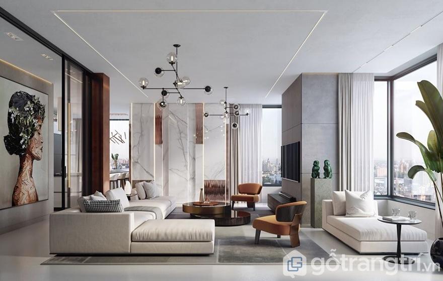 Phòng khách thiết kế hiện đại với gam màu trắng sạch sẽ