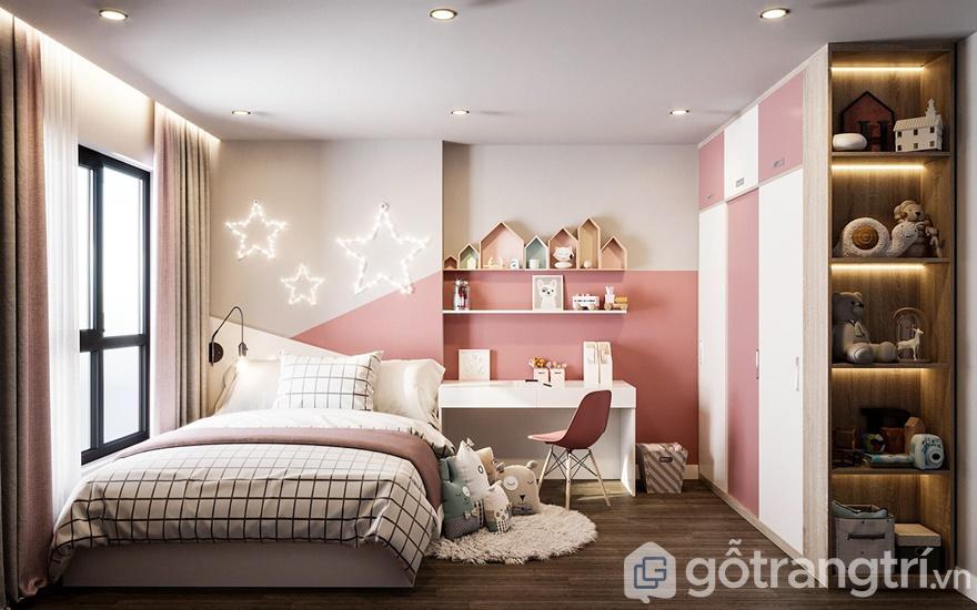 Phòng ngủ cho bé gái cực đáng yêu với gam màu hồng nữ tính