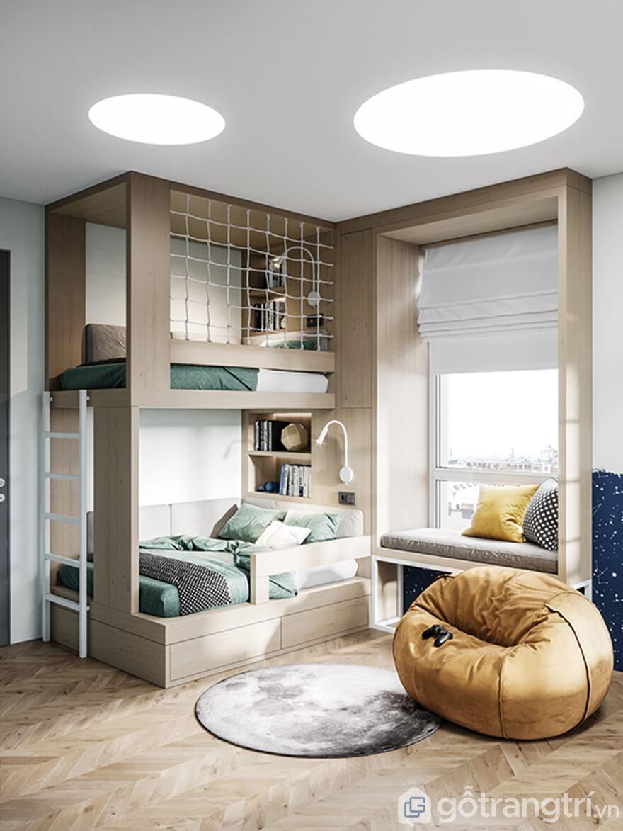 Thiết kế giường tầng bằng gỗ đơn giản, tiện nghi