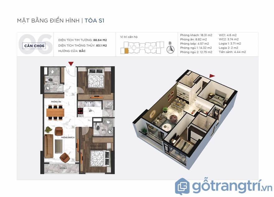 Thông tin chung căn hộ Sunshine City 2 phòng ngủ